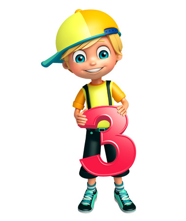 kid boy with 3 digit