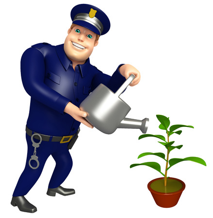 Police with watering can and plant 写真素材