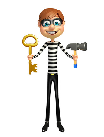 Thief with hammer and key