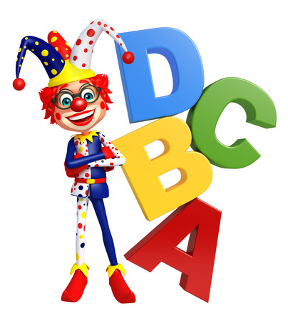 red nose: Clown with ABCD sign Stock Photo