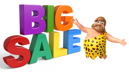 threaten: Caveman with Big sale sign