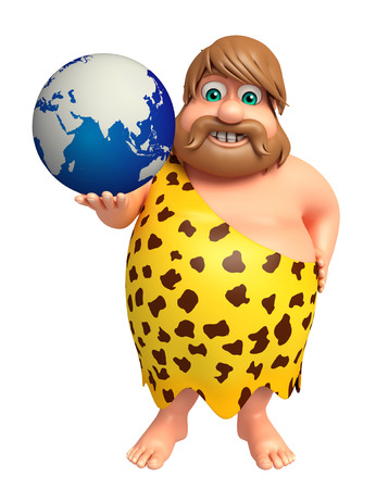 threaten: Caveman with Earth Stock Photo