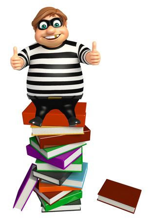 burgle: Thief with Book stack