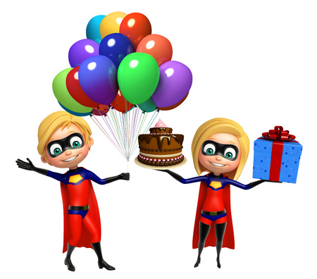 Superboy and Supergirl with Balloons cake giftbox