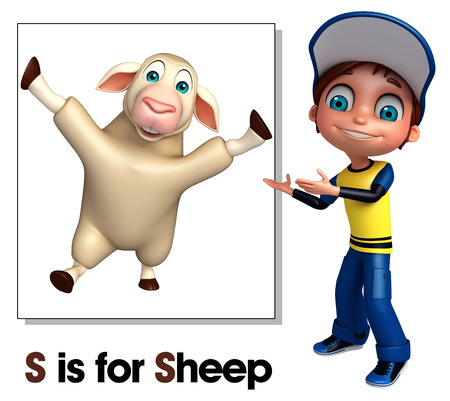 kid pointing: Kid boy pointing Sheep
