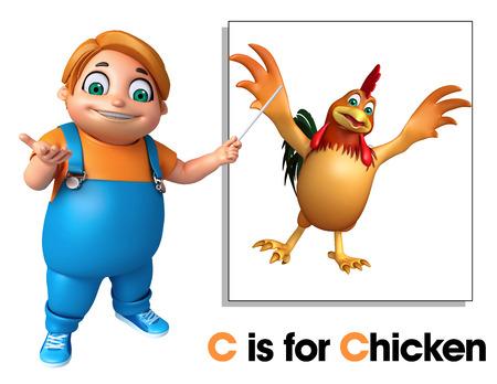 toonimal: Kid boy pointing Chicken