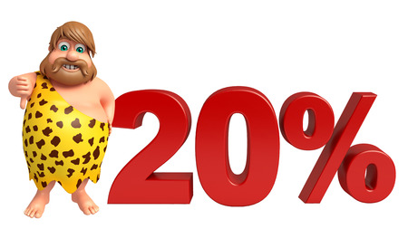 paleolithic: Caveman with 20% sign