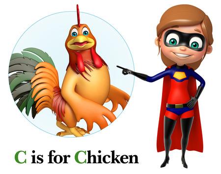 toonimal: supergirl pointing chicken