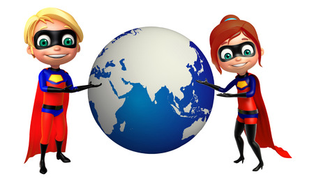 supergirl: Superboy and Supergirl with Earth sign
