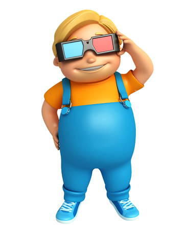 goggle: kid boy with 3D goggle