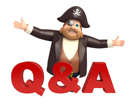 qa: Pirate with Q&A sign Stock Photo