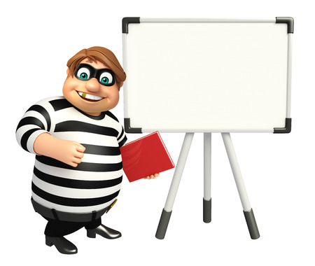 Thief with Display board & book Stock Photo