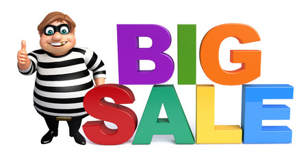 burgle: Thief with BigSale sign