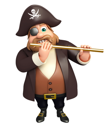 tricorne: 3d rendered illustration of pirate with flute