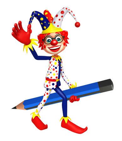 wig: Clown with Pencil Stock Photo