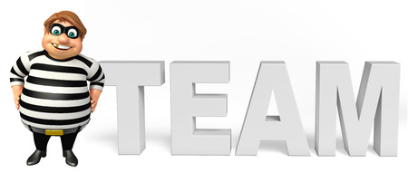 Thief with Team sign Stock Photo