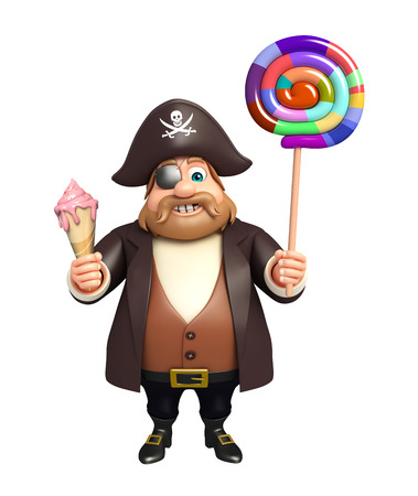 Pirate with Lollypop & Ice cream Stock Photo