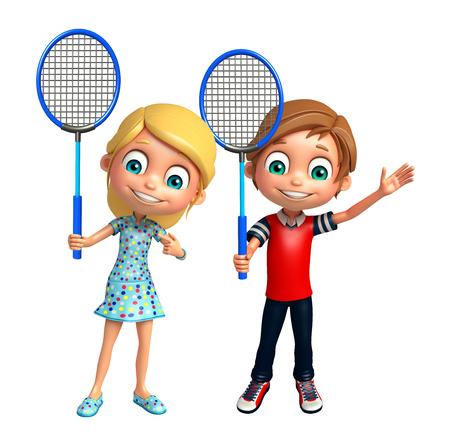 Kid boy and Kid girl with Badminton
