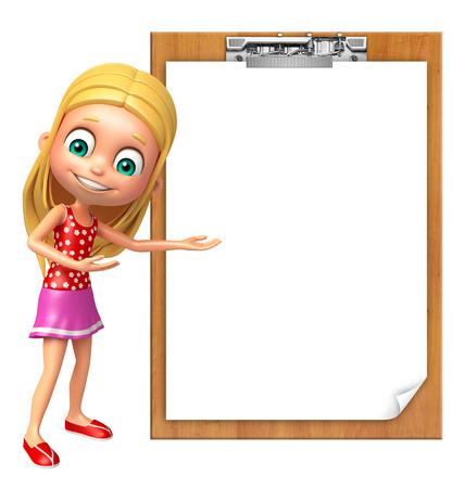pad: kid girl with Exam pad