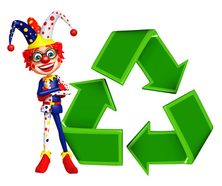 wig: Clown with Recycle sign