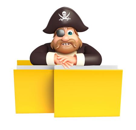 tricorne: Pirate with Folder Stock Photo