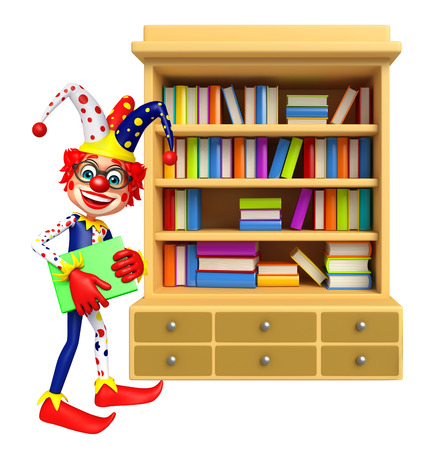 wig: Clown with Book Shelves Stock Photo