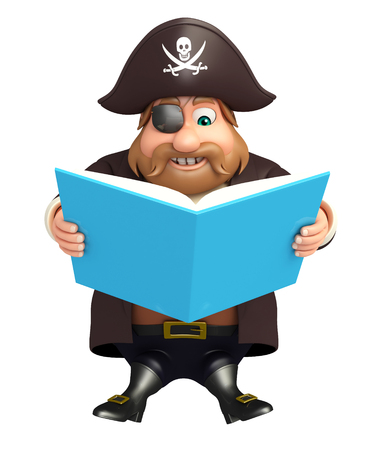 3d rendered illustration of pirate with diary