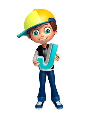 kid boy with J alphabate