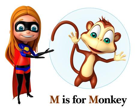 super girl: super girl pointing Monkey
