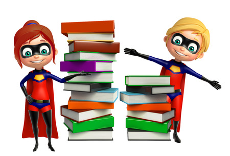 supergirl: superboy and supergirl with Book stack