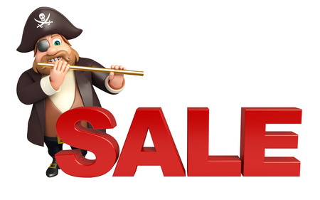 tricorne: Pirate with Sale sign & flute Stock Photo