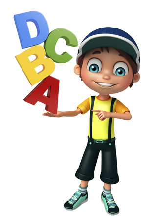 abcd: kid boy with abcd sign