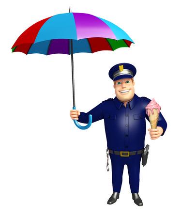 警察の傘 & アイス クリームと