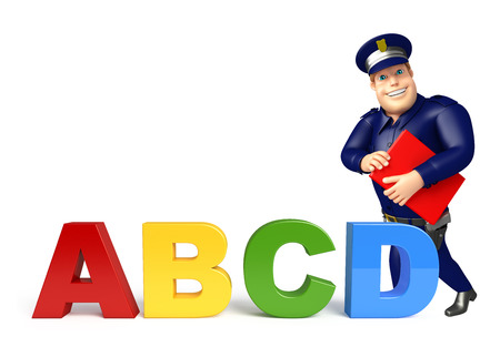 abcd: Police with ABCD sign & book