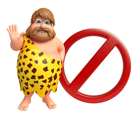 Caveman with Stop sign Stock Photo