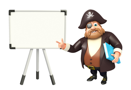 tricorne: Pirate with Display board & book Stock Photo
