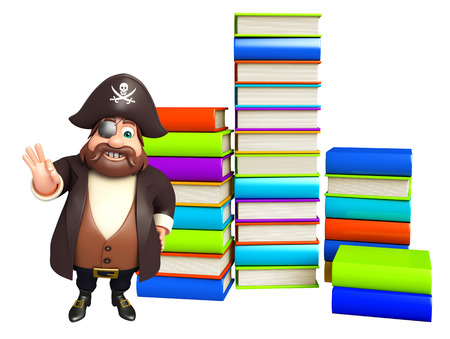 Pirate with Book stack Stock Photo