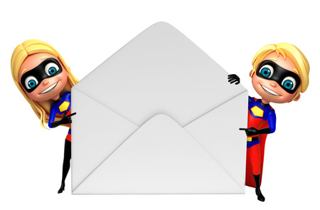 supergirl: superboy and supergirl with Mail Stock Photo