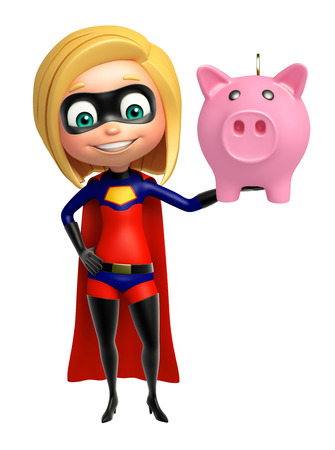 supergirl: supergirl with piggy bank Stock Photo