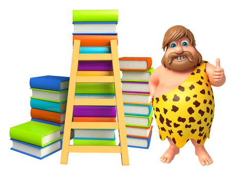 threaten: Caveman with Book stack and ladder