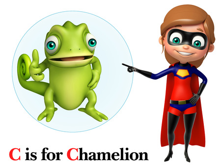 chamelion: Super girl pointing Chamelion Stock Photo