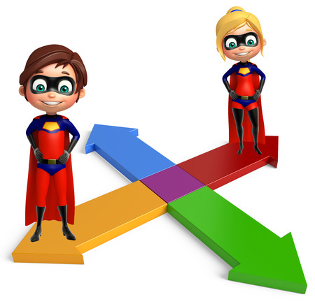 superboy: superboy and supergirl with Arrow Stock Photo