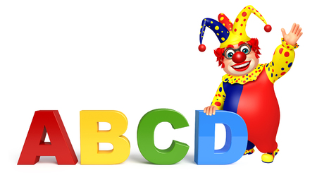 abcd: Clown with ABCD sign Stock Photo