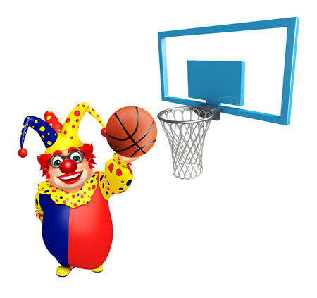 nariz roja: Clown with Basket ball and Basket