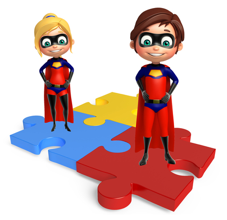 supergirl: superboy and supergirl with Puzzel