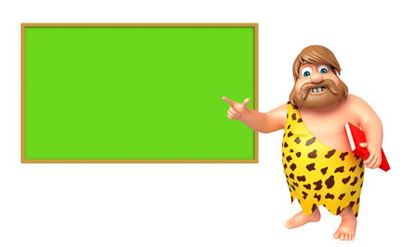 paleolithic: Caveman with Writing Board & book