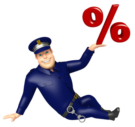 Police with Percentage sign Stock Photo