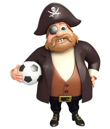 3d rendered illustration of pirate with football Stock Photo