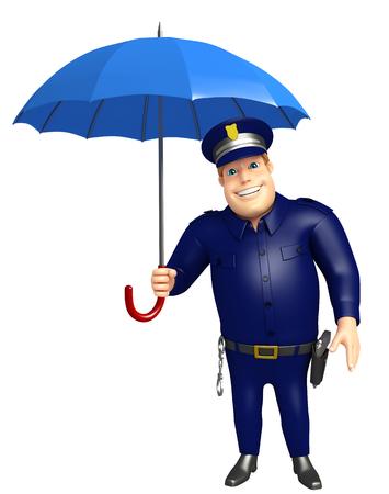 傘と警察 写真素材