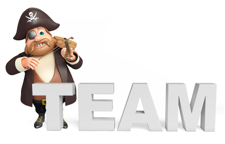 tricorne: Pirate with Vailen & team sign Stock Photo